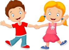 Niños de la historieta que llevan a cabo la mano ilustración del vector