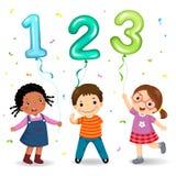 Niños de la historieta que sostienen los globos formados del número 123 Imagen de archivo libre de regalías