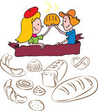 Niños de la panadería Imagenes de archivo