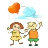 Niños de la pareja que sostienen el globo aislado en blanco Foto de archivo