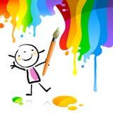 Niños de la pintura, artista ilustración del vector