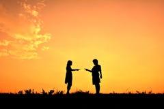 Niños de la silueta Imagen de archivo libre de regalías