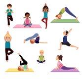 Niños de la yoga Actitudes de Asanas fijadas Imagen de archivo libre de regalías