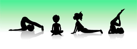 Niños de la yoga Asanas presenta la silueta Foto de archivo