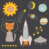 Niños de los niños del espacio abierto fijados Imagenes de archivo