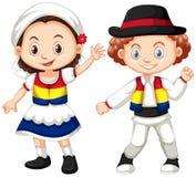Niños de Rumania en equipo tradicional Imagen de archivo