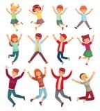 Niños de salto El salto de los niños emocionados, los adolescentes saltados felices y el niño sonriente salta el sistema del ejem libre illustration