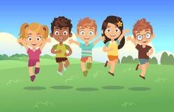 Niños de salto felices Los adolescentes del parque del prado del verano de los niños del panorama de la historieta del día de fie libre illustration