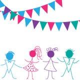 Niños del baile con los globos ilustración del vector