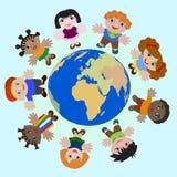 Niños del concepto de diverso sueño de las naciones de la paz en la tierra libre illustration