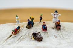 Niños del concepto del invierno que resbalan abajo de la montaña nevosa Imagen de archivo