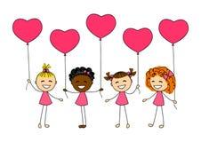 Niños del día de tarjetas del día de San Valentín Imagenes de archivo