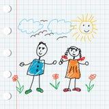 Niños del doodle de la historieta ilustración del vector