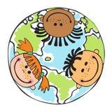 Niños del globo Día de la Tierra de los niños Vector stock de ilustración