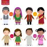 Niños del mundo (Afganistán, Bangladesh, Paquistán y Sri stock de ilustración