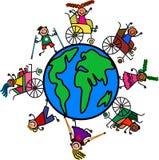 Niños del mundo de la incapacidad stock de ilustración