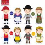 Niños del mundo (Dinamarca, Letonia, Suecia y Lituania) stock de ilustración