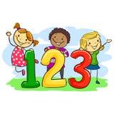 Niños del palillo con 123 Imagen de archivo
