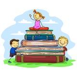Niños del palillo que se sientan en la pila de libros stock de ilustración