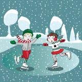 Niños del patinaje de hielo en el invierno Ejemplo del vector en fondo de la turquesa Imagenes de archivo