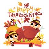 Niños del peregrino de la historieta alrededor de la cena de Turquía con Thanksgivin feliz libre illustration