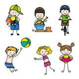 Niños del verano fijados Foto de archivo libre de regalías
