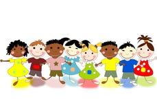 Niños divertidos de diversas razas en fondo stock de ilustración