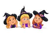 Niños divertidos del feliz Halloween en sombrero en el templa blanco del fondo ilustración del vector