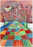 Niños durmientes en una cama hermosa stock de ilustración