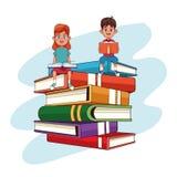 Niños e historietas de los libros ilustración del vector