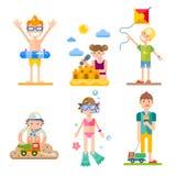 Niños el vacaciones de verano ilustración del vector