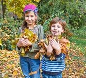 Niños en bosque del otoño. Juego con abajo caida la hoja Fotos de archivo libres de regalías