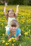 Niños en campo con la flor. Fotos de archivo