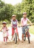 Niños en cascos de seguridad del campo que desgastan Imagen de archivo libre de regalías