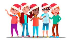 Niños en casquillos de la Navidad que cantan a Carol Vector Ilustración ilustración del vector