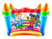Niños en castillo animoso stock de ilustración