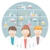 Niños en concepto plano de la educación de la clase de química stock de ilustración