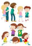 Niños en diversas emociones stock de ilustración