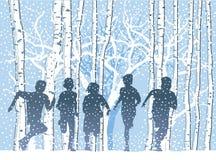 Niños en el bosque del invierno stock de ilustración