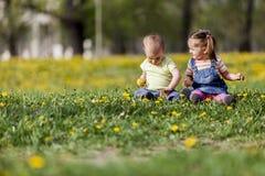 Niños en el campo de la primavera Imágenes de archivo libres de regalías