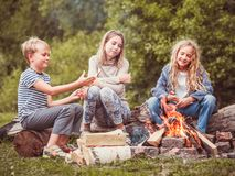 Niños en el campo por el fuego Imágenes de archivo libres de regalías