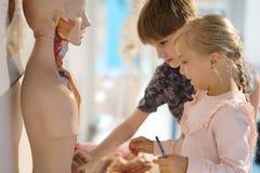 Niños en el centro de la ciencia entretenida foto de archivo