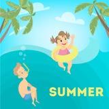 Niños en el mar stock de ilustración