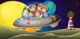 Niños en el outerspace Fotografía de archivo libre de regalías