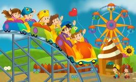 Niños en el patio - ejemplo para los niños stock de ilustración