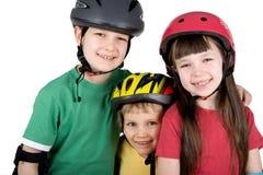 Niños en engranaje de la seguridad Imagen de archivo