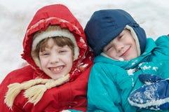 Niños en invierno Imagen de archivo libre de regalías