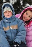 Niños en invierno Foto de archivo