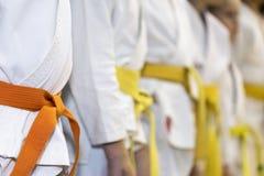 Niños en kimono en clase de artes marciales Foto de archivo libre de regalías