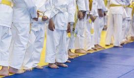 Niños en kimono en clase de artes marciales Imagen de archivo